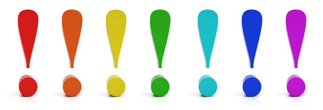 Exclamation mark. Exclamation mark in different colors Stock Image