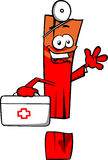 Exclamation mark doctor with first aid kit Stock Photo