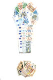 Exclamation mark  of Euro banknotes. Royalty Free Stock Image