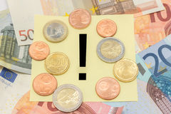 Exclamation mark Euro notes money Royalty Free Stock Photo