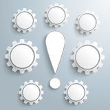Exclamation Mark 7 Gears Infographic Stock Photo