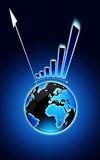 Exclamation mark with globe and financial chart Stock Images