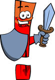 Exclamation mark guard with shield and sword Royalty Free Stock Photos