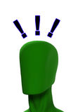 Exclamation Mark Head. Conceptual image of a blank head with exclamation mark Stock Photos