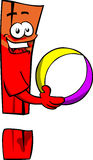 Exclamation mark holding a beach ball Royalty Free Stock Image