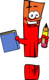 Exclamation mark holding a book and a pencil Royalty Free Stock Images