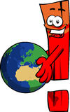 Exclamation mark holding Earth Stock Images