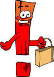 Exclamation mark holding an empty bag Stock Image