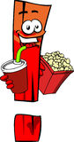 Exclamation mark holding popcorn and soft drink Stock Photo