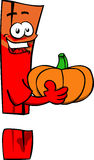 Exclamation mark holding pumpkin Stock Photography