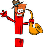 Exclamation mark holding saxophone Royalty Free Stock Photo