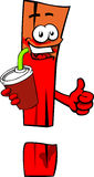 Exclamation mark holding soda and showing thumb up sign Stock Image