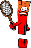 Exclamation mark holding a tennis rocket Royalty Free Stock Photography