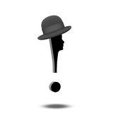 Exclamation Mark with human face and and hat Stock Photo