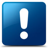 Exclamation mark icon blue square button Royalty Free Stock Photos