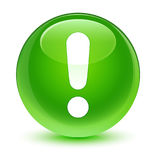 Exclamation mark icon glassy green round button Stock Photo