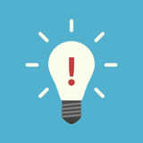 Exclamation mark in lightbulb Stock Image