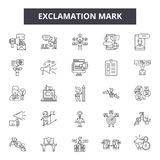 Exclamation mark line icons, signs, vector set, outline illustration concept. Exclamation mark line icons, signs, vector set, outline concept illustration stock illustration
