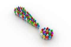 Exclamation mark made from colorful 3d people Royalty Free Stock Image