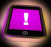 Exclamation Mark On Mobile Shows Attention Warning Royalty Free Stock Photography