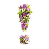 Exclamation mark from natural meadow flowers and lilacs on a white background.. Exclamation mark from natural meadow flowers and lilacs on a a light background stock images
