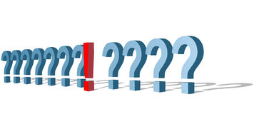 Exclamation Mark Out of Question Marks Line Stock Images