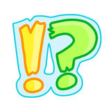 Exclamation mark. Exclamation and question mark cute cartoon Stock Photos