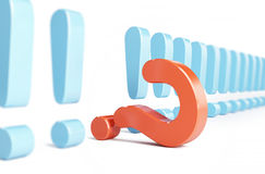 Exclamation mark and question mark. A white background Stock Photos