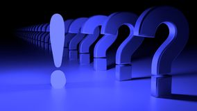 Exclamation mark among questions solution concept blue. Blue glowing exclamation mark standing out from the crowd of reflecting question marks fading into the Royalty Free Stock Photos