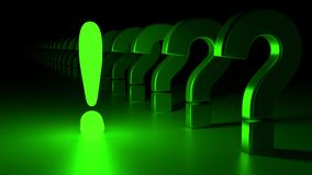 Exclamation mark among questions solution concept green. Green glowing exclamation mark standing out from the crowd of reflecting question marks fading into the Royalty Free Stock Photography