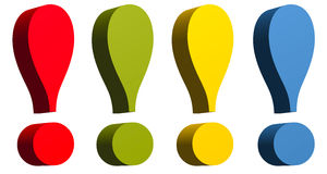 Exclamation mark in red green yellow and blue colo Royalty Free Stock Image