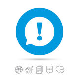 Exclamation mark sign icon. Attention symbol. Exclamation mark sign icon. Attention speech bubble symbol. Copy files, chat speech bubble and chart web icons Royalty Free Stock Photos
