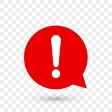 Exclamation mark warning attention vector icon. Exclamation mark for warning or attention vector icon in red chat bubble with shadow on transparent background vector illustration