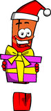 Exclamation mark wearing Santa's hat and holding gift box Stock Photo