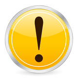 Exclamation mark yellow circle Stock Image