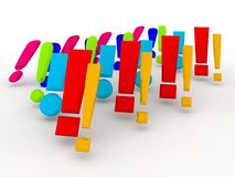 Exclamation marks. An illustration of a large group colorful 3d exclamation marks Stock Photo