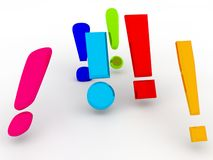 Exclamation marks. An illustration of a group of colorful 3d exclamation marks Royalty Free Stock Image