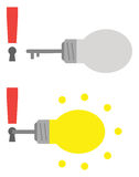 Exclamation marks with keyholes and light bulb keys Royalty Free Stock Photos