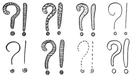 Exclamation marks and question marks. Hand drawn doodle set. Vector, isolated on white background. Hand drawn set Stock Photo