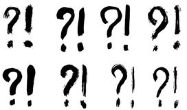 Exclamation marks and question marks. Dry brush strokes. Exclamation marks and question marks. Hand drawn brush set. Vector, isolated on white background Royalty Free Stock Photography