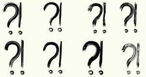 Exclamation marks and question marks. Dry brush strokes. Exclamation marks and question marks. Hand drawn brush set. Vector, isolated on white background Stock Images