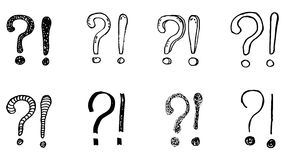 Exclamation marks and question marks. Hand drawn doodle set. Vector, isolated on white background Royalty Free Stock Photo