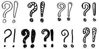 Exclamation marks and question marks. Hand drawn doodle set. Vector, isolated on white background Stock Image