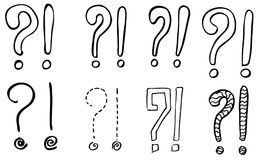 Exclamation marks and question marks. Hand drawn doodle set. Vector, isolated on white background. Hand drawn set Stock Images