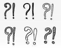 Exclamation marks and question marks. Hand drawn set, cartoon style. Exclamation marks and question marks. Hand drawn doodle set. Vector, isolated on white Stock Photography