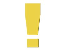 Exclamation Point. Yellow exclamation point isolated on a white background Royalty Free Stock Photo