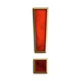 Exclamation point in fiery red. & gold isolated on white Stock Image