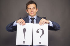 Exclamation point and a question mark Stock Photography