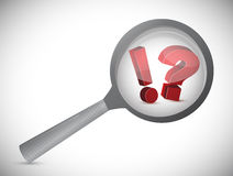 Exclamation and question magnify search Stock Photo