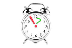 Exclamation and Question Mark on the alarm clock Stock Photos